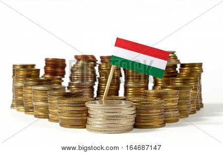 Hungary Flag Waving With Stack Of Money Coins