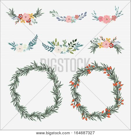 Hand drawn set of floral bouquets and wreath with olive leaves, roses, peonies and other flowers. Isolated vector objects, illustrations