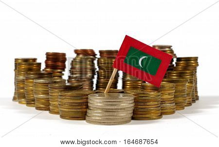 Maldives Flag Waving With Stack Of Money Coins