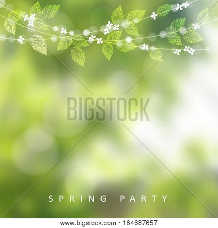 Spring greeting card, invitation. String of lights, leaves and cherry blossoms. Modern blurred background. Garden party decoration.