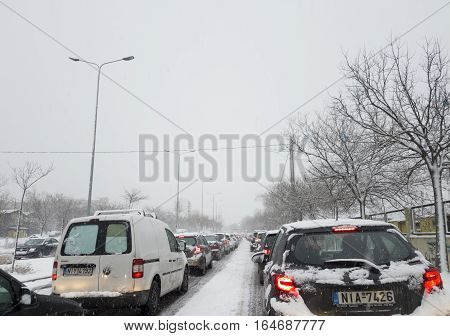 Thessaloniki, Greece - January 10 2017 snowfall traffic jam at city port. Heavy snowfall caused severe traffic jam at the city. Photo taken at Karatasou street port area.