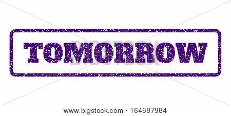 Indigo Blue rubber seal stamp with Tomorrow text. Vector caption inside rounded rectangular frame. Grunge design and unclean texture for watermark labels. Horisontal sign on a white background.