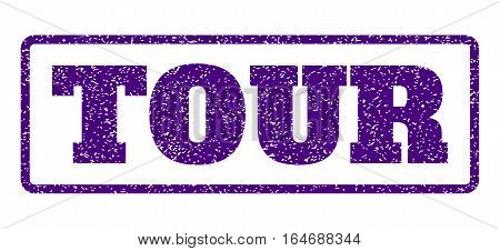 Indigo Blue rubber seal stamp with Tour text. Vector caption inside rounded rectangular shape. Grunge design and unclean texture for watermark labels. Horisontal emblem on a white background.