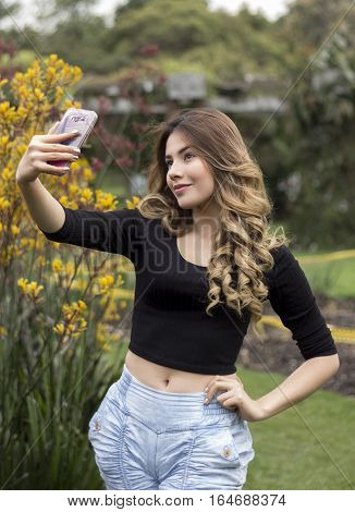 portrait of a woman making a selfie