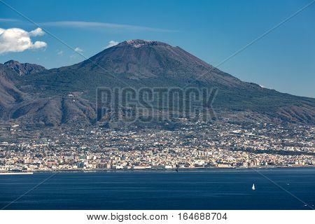 Winter view of the Naples bay with Vesuvius mount
