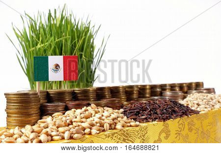 Mexico Flag Waving With Stack Of Money Coins And Piles Of Wheat And Rice Seeds