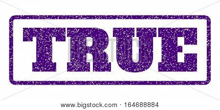 Indigo Blue rubber seal stamp with True text. Vector caption inside rounded rectangular frame. Grunge design and dust texture for watermark labels. Horisontal emblem on a white background.