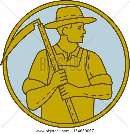 Mono line style illustration of an organic farmer farm worker holding scythe looking to the side set inside circle on isolated background.