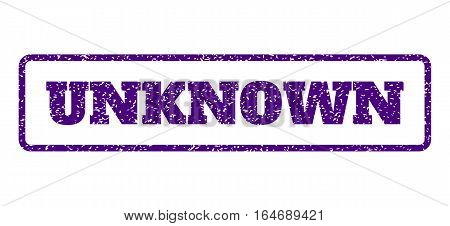 Indigo Blue rubber seal stamp with Unknown text. Vector tag inside rounded rectangular banner. Grunge design and scratched texture for watermark labels. Horisontal sticker on a white background.