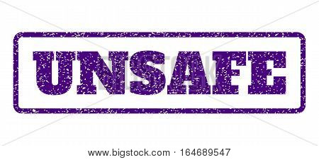 Indigo Blue rubber seal stamp with Unsafe text. Vector message inside rounded rectangular shape. Grunge design and unclean texture for watermark labels. Horisontal sign on a white background.