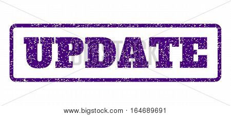 Indigo Blue rubber seal stamp with Update text. Vector caption inside rounded rectangular shape. Grunge design and dirty texture for watermark labels. Horisontal sticker on a white background.