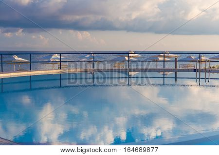 Kato Stalos beach near Chania nice swimming pool with sea view Chania prefecture Western Crete Greece