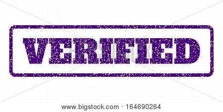 Indigo Blue rubber seal stamp with Verified text. Vector tag inside rounded rectangular shape. Grunge design and dust texture for watermark labels. Horisontal sticker on a white background.