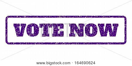 Indigo Blue rubber seal stamp with Vote Now text. Vector caption inside rounded rectangular frame. Grunge design and unclean texture for watermark labels. Horisontal sign on a white background.