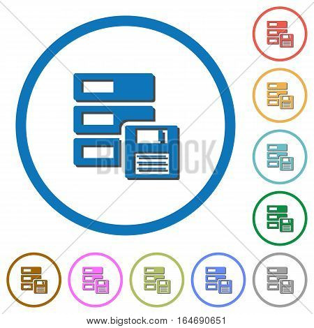 Backup concept flat color vector icons with shadows in round outlines on white background