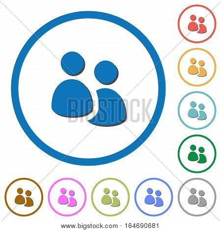 User group flat color vector icons with shadows in round outlines on white background