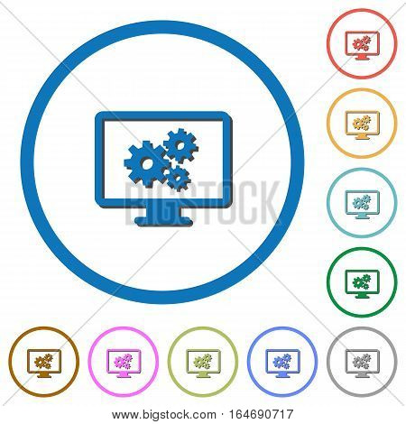 Screen settings flat color vector icons with shadows in round outlines on white background