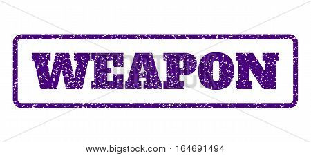 Indigo Blue rubber seal stamp with Weapon text. Vector caption inside rounded rectangular frame. Grunge design and unclean texture for watermark labels. Horisontal sign on a white background.