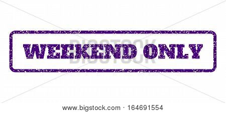 Indigo Blue rubber seal stamp with Weekend Only text. Vector tag inside rounded rectangular frame. Grunge design and dirty texture for watermark labels. Horisontal sign on a white background.