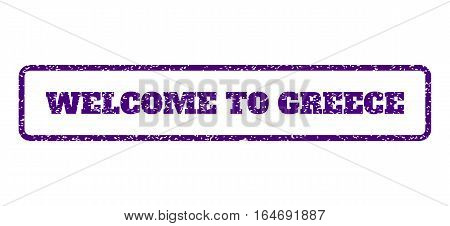 Indigo Blue rubber seal stamp with Welcome To Greece text. Vector caption inside rounded rectangular shape. Grunge design and unclean texture for watermark labels.