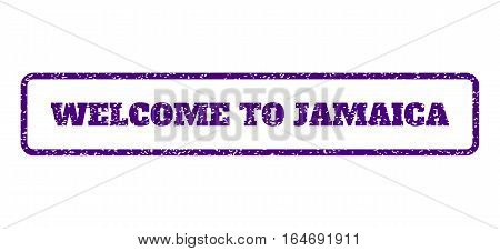 Indigo Blue rubber seal stamp with Welcome To Jamaica text. Vector message inside rounded rectangular shape. Grunge design and dust texture for watermark labels. Horisontal sign on a white background.