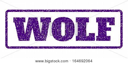 Indigo Blue rubber seal stamp with Wolf text. Vector caption inside rounded rectangular frame. Grunge design and unclean texture for watermark labels. Horisontal sticker on a white background.