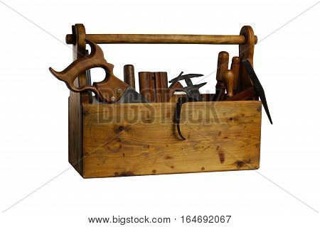 Old Wooden Tool Box Full Of Tools Isolated