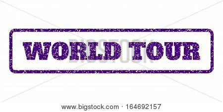 Indigo Blue rubber seal stamp with World Tour text. Vector caption inside rounded rectangular frame. Grunge design and scratched texture for watermark labels. Horisontal sign on a white background.