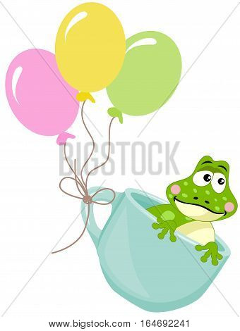 Scalable vectorial image representing a frog in teacup with balloons, isolated on white.