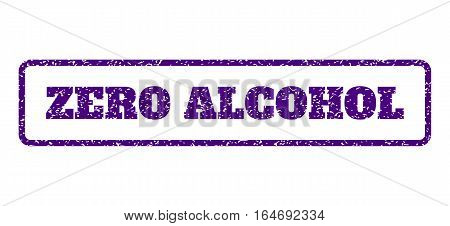 Indigo Blue rubber seal stamp with Zero Alcohol text. Vector tag inside rounded rectangular banner. Grunge design and dirty texture for watermark labels. Horisontal emblem on a white background.