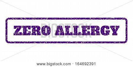 Indigo Blue rubber seal stamp with Zero Allergy text. Vector message inside rounded rectangular frame. Grunge design and unclean texture for watermark labels. Horisontal emblem on a white background.