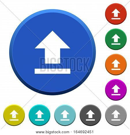 Upload round color beveled buttons with smooth surfaces and flat white icons
