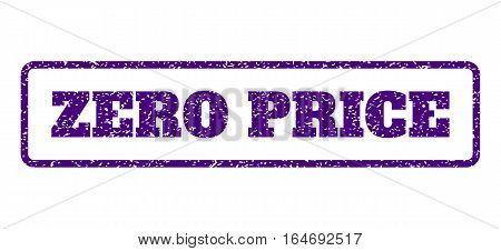 Indigo Blue rubber seal stamp with Zero Price text. Vector caption inside rounded rectangular shape. Grunge design and dirty texture for watermark labels. Horisontal sticker on a white background.