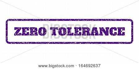 Indigo Blue rubber seal stamp with Zero Tolerance text. Vector caption inside rounded rectangular banner. Grunge design and dirty texture for watermark labels. Horisontal emblem on a white background.