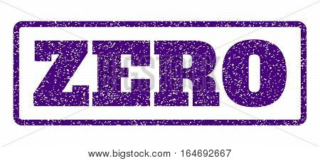 Indigo Blue rubber seal stamp with Zero text. Vector tag inside rounded rectangular shape. Grunge design and dust texture for watermark labels. Horisontal emblem on a white background.