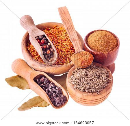 Set of pilaf and other rice meals cooking. Barberry, cumin -zira, saffron, pepper and paprika