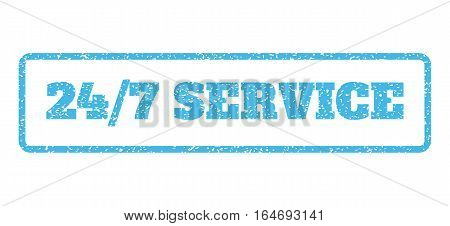 Light Blue rubber seal stamp with 24-7 Service text. Vector tag inside rounded rectangular banner. Grunge design and dirty texture for watermark labels. Horisontal sign on a white background.