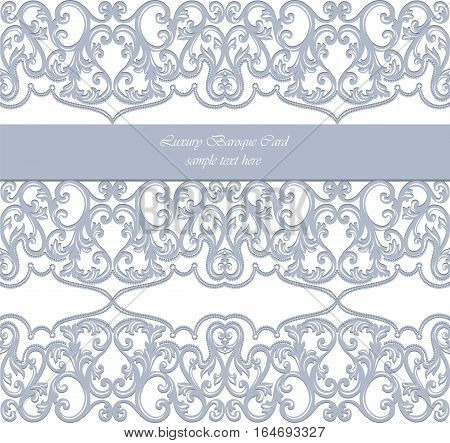 Vector Damask Lace Invitation card with floral ornament. Delicate intricate decorated card for wedding ceremonies, anniversary, events. Blue Serenity color
