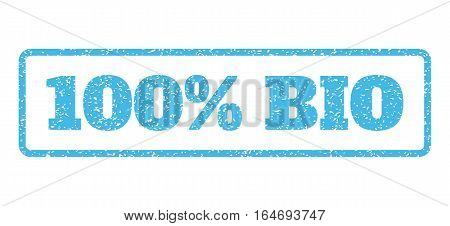Light Blue rubber seal stamp with 100 Percent Bio text. Vector message inside rounded rectangular banner. Grunge design and dirty texture for watermark labels. Horisontal sign on a white background.