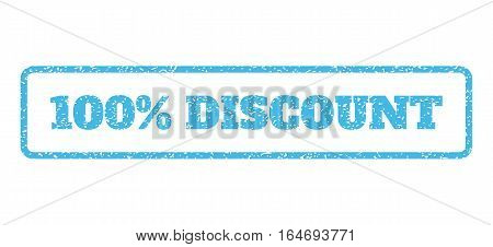 Light Blue rubber seal stamp with 100 Percent Discount text. Vector tag inside rounded rectangular banner. Grunge design and dirty texture for watermark labels. Horisontal sign on a white background.