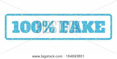 Light Blue rubber seal stamp with 100 Percent Fake text. Vector message inside rounded rectangular banner. Grunge design and dust texture for watermark labels. Horisontal sign on a white background.