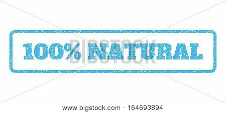 Light Blue rubber seal stamp with 100 Percent Natural text. Vector caption inside rounded rectangular banner. Grunge design and dust texture for watermark labels.
