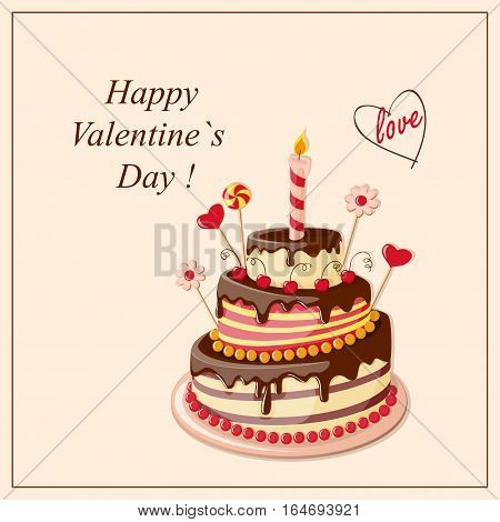 Festive colorful greeting card with tier cake hearts for Valentine's Day birthday romantic holidays invitation at the tea party wedding. eps 10
