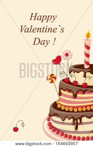 Festive colorful greeting card with tier cake hearts for Valentine's Day birthday romantic holidays invitation at the tea party wedding. Isolated cake with clipping mask eps 10