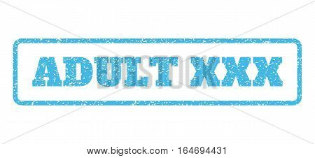 Light Blue rubber seal stamp with Adult XXX text. Vector message inside rounded rectangular banner. Grunge design and unclean texture for watermark labels. Horisontal sign on a white background.