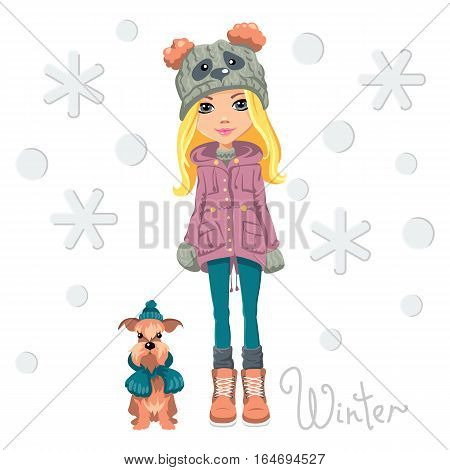 Vector Cute beautiful fashionable girl in a funny hat with a muzzle panda with dog poster