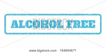Light Blue rubber seal stamp with Alcohol Free text. Vector tag inside rounded rectangular banner. Grunge design and dust texture for watermark labels. Horisontal sticker on a white background.
