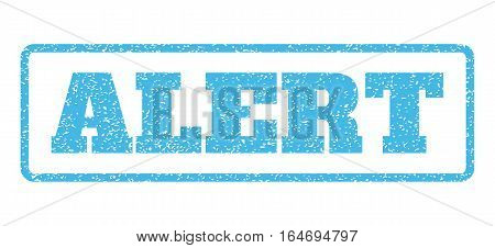 Light Blue rubber seal stamp with Alert text. Vector tag inside rounded rectangular shape. Grunge design and dirty texture for watermark labels. Horisontal sticker on a white background.