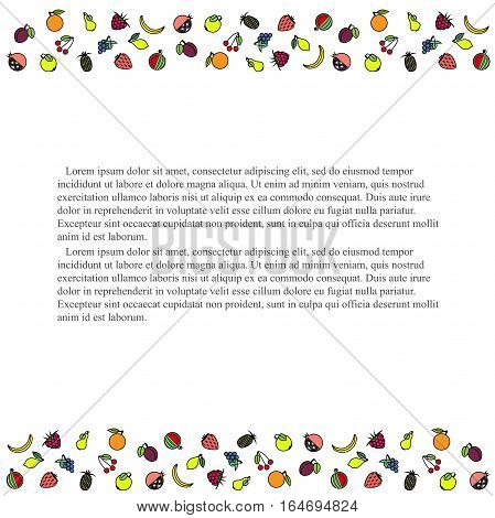 Colorful horizontal fruit background, black Lorem ipsum, stock vector illustration