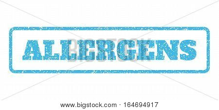 Light Blue rubber seal stamp with Allergens text. Vector caption inside rounded rectangular banner. Grunge design and scratched texture for watermark labels. Horisontal sign on a white background.